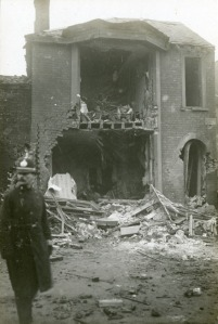 Domestic housing hit following a zeppelin raid on Yarmouth January 1915