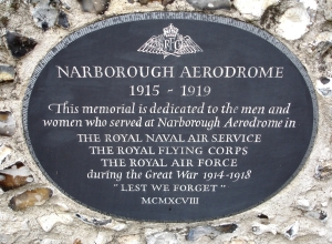 Plaque at Narborough Church. Photograph publish with kind permission of Tony Jewer