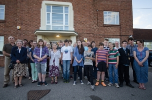 The team that made the film outside Stalham High School in June