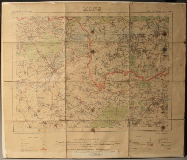Map used by Lt. Col. Ballard at the Battle of Mons, 1914