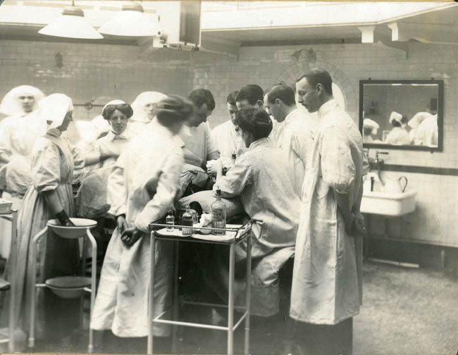 A rare image of an operation taking place at the Norfolk and Norwich War Hospital in 1916