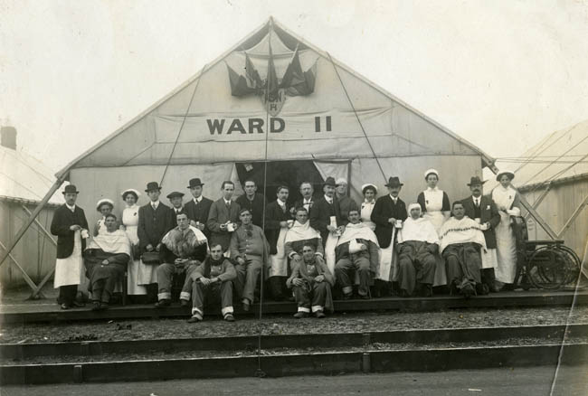 Tented ward number 11 showing nursing staff and recovering soldiers.