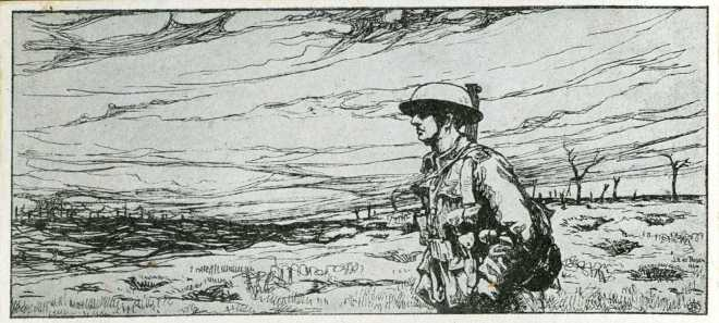 This image from a Christmas card shows a lone soldier in No-Mans Land.