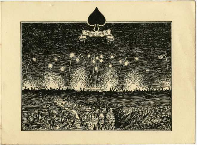 A First World War Christmas card depicting the trenches of the Western Front