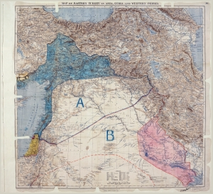Map of the Sykes-Picot Agreement showing Eastern Turkey in Asia, Syria and Western Persia, and areas of control and influence agreed between the British and the French. (Royal Geographical Society (Map), Mark Sykes & Franois Georges-Picot (Authors), National Archives of the UK)