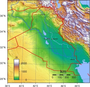 The Topography of Iraq adapted from commons.wikimedia.org : contributor Sadalmelik