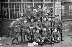 3rd Tp B (Reading) Sqn Group at Railway Workshops Melton. Photo courtesy of the Berkshire Yeomanry Museum.