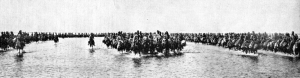 Indian Cavalry crossing the flooded desert between Basra and Shaiba