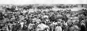Arrival of the Anglo-Indian convoy at Shaiba - pack mules about to be unloaded and artillery in the background.