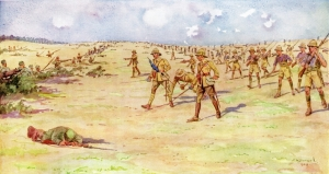 The Battle of Shaiba by Stanley Barwell. Taken from the History of the Norfolk Regiment, Volume II (1914-1918) by F. Loraine Petre, Jarrold edition