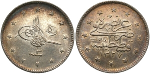 A small cupro-nickel coin, 18mm in diameter, value 2 kurush (kuruş), from the reign of Sultan Mehmed V and dating from 1912/13 (AH 1327 Year 3) (image may be freely used)