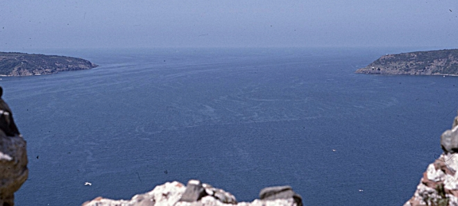 The strategically important confluence between the Black sea and the Bosphorus, seen from a ruined Byzantine castle at the northern end of the Straits (1995)