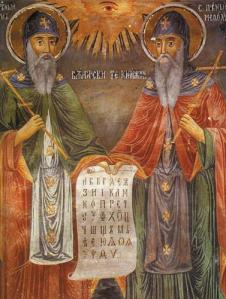 Saints Cyril and Methodius, the first Greek missionaries to the Slavs, in a 19th century icon from Bulgaria (Wikimedia Commons : uploaded by Mladifilozof)
