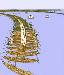 A visual reconstruction of Xerxes' bridges (with thanks to: www.mlahanas.de/Greeks/InventionsF.htm) Opinion is divided as to the their location, whether across the Bosphorus or the Dardanelles