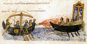 The Byzantines using Greek Fire, pictured in the Chronicle of John Skylitzes. The Greek inscription reads: στόλος Ρωμαίων πυρπολῶν τὸν τῶν ἐναντίων στόλον : the fleet of the Romans setting ablaze the fleet of the enemies Wikimedia Commons : uploaded by Amandajm