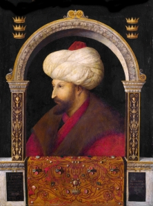 The Ottoman Sultan Mehmed II, the Conqueror of Byzantium by the Venetian painter, Gentile Bellini (Wikimedia Commons : uploaded by Aguzer)