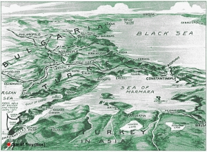 Panoramic map of the straits between the Black and the Aegean. NB - geographical names change through time: the Black sea was also known as the Euxine Sea; the Sea of Marmara as the Propontis; the Dardanelles as the Hellespont. the landmass of Turkey in Asia is sometimes referred to as Asia Minor, but also as Anatolia. Turkey extends in to Europe to the west of the Straits and includes the city of Constantinople (Istanbul)