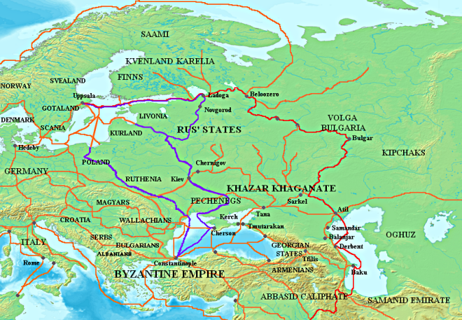 Map showing the major Rus trade routes: the Volga trade route (in red) and the trade route from the Rus to the Greeks (in purple). Other trade routes of the 8th–11th centuries shown in orange. Wikimedia Commons : http://fr.wikipedia.org/wiki/Utilisateur:Spiridon_Ion_Cepleanu