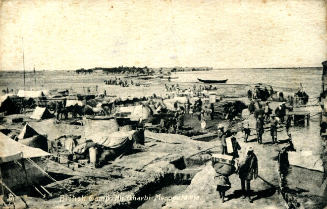 Unloading supplies from mahellas at the British Camp at Ali Gharbi on the Tigris