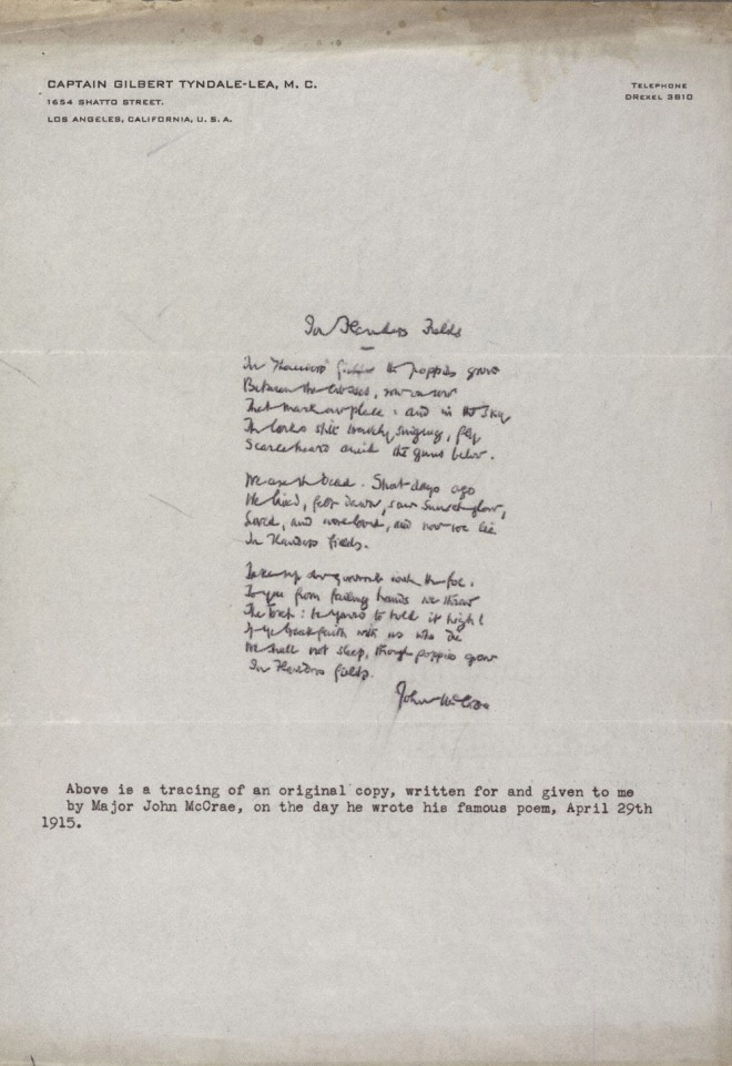 """In Flanders Fields,"" by McCrae, John (1872-1918). First World War Poetry Digital Archive, accessed November 3, 2015, http://www.oucs.ox.ac.uk/ww1lit/collections/item/1643."