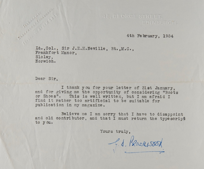 Rejection letter from Edinburgh publishers. Includes: '' Norfolk Record Office catalogue entry: