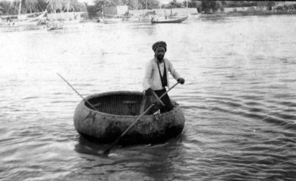 Coracle boat on the Tigris, G B Northcote
