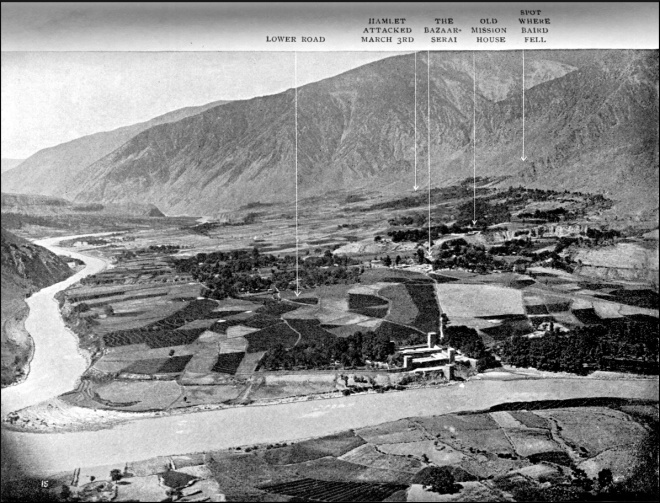 Locations for the Action of March 3, 1895 The Chitral River loops through the view; Chitral Fort is in the middle foreground from Robertson, Chitrál: The Story of a Minor Siege, 1895