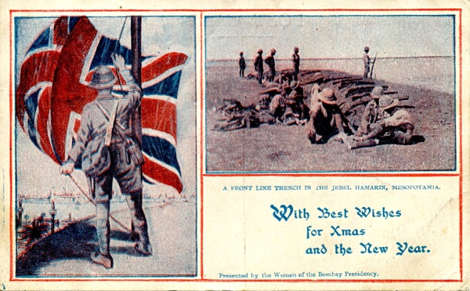 This postcard, one from two sets of six, probably dates from 1917 when the Union Flag was eventually raised over Baghdad, pictured in the distance. In 1915 the flag would flown over Kut al Amara, but victory was a long, painful way off.