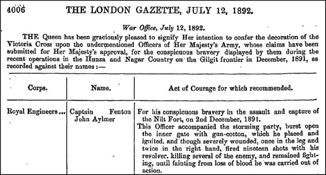 Fenton Aylmer_VC_London Gazette