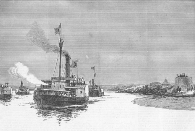 General Gordon's steamers at Metemmeh, January 21, 1885