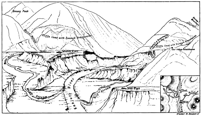 The Nilt, Thol and Maiun Forts from: E.F. Knight, Where Three Empires Meet, 1893 (Knight, a renowned newspaper correspondent, was with CVFT in a sangar at Fort Thol)