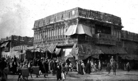 An Arab market in Mesopotamia, 1915. Trinkets were bought and sold here frequently
