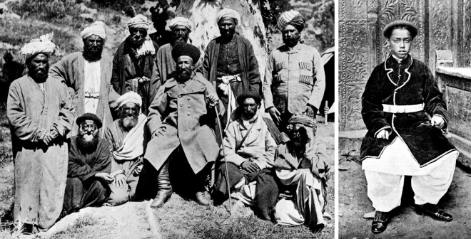 Sher Afzul and his advisers & the young Shuja-ul-Mulk from Robertson, Chitrál: The Story of a Minor Siege, 1898