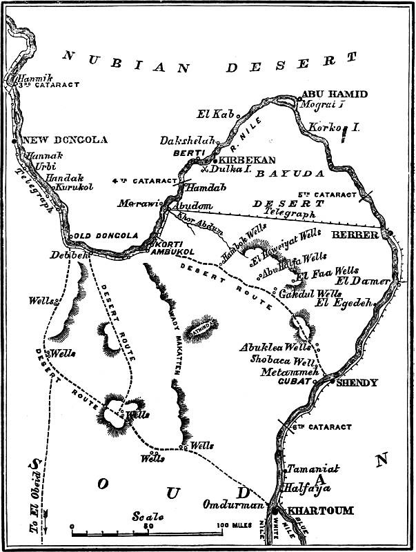 Stewart's Desert Route from Korti to Metemmeh via Howeitat Wells, Gagdul Wells and Abu Klea Wells from: Charles Royle, The Egyptian Campaigns 1882-1885, 1889