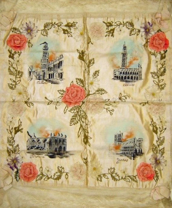 Silk chair cover painted with views of churches at Albert, Arras, Persomme and Ypres
