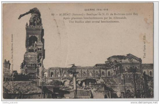 The shattered Basilica at Albert, taken from a popular print.
