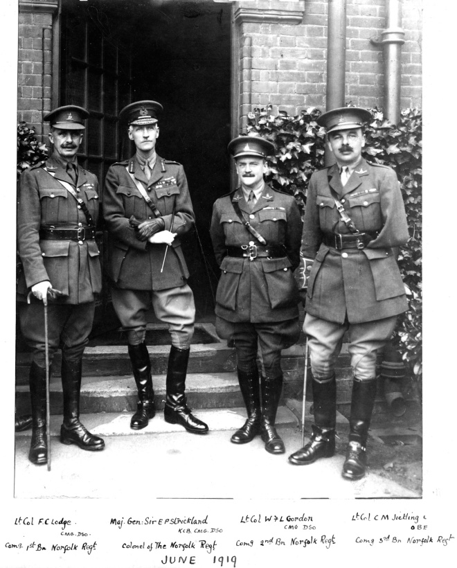 Lt. Col. F.C. Lodge with Norfolk Regiment commanders, June 1919 (Royal Norfolk Regimental Museum)