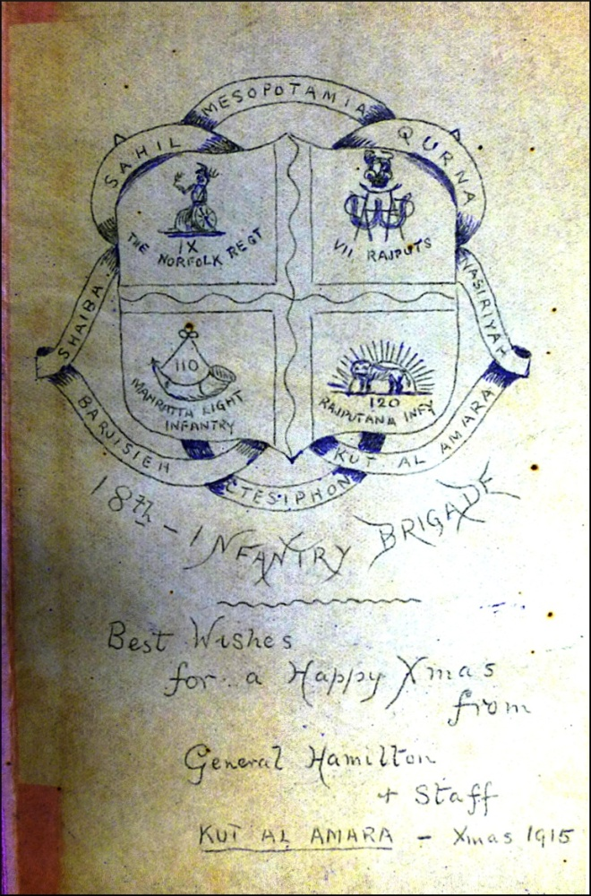 Christmas 1915 Greeting to the 18th Brigade Indian Expeditionary Force 'D' from the diary of Major F.C. Lodge (Royal Norfolk Regimental Museum)