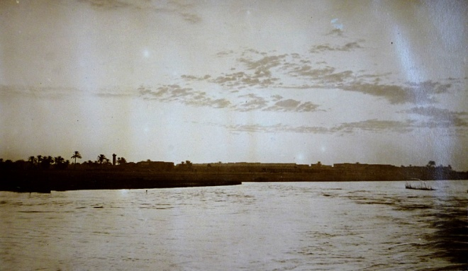 The licourice factory across the river at dawn from the diary of F.C. Lodge (Royal Norfolk Regimental Museum)