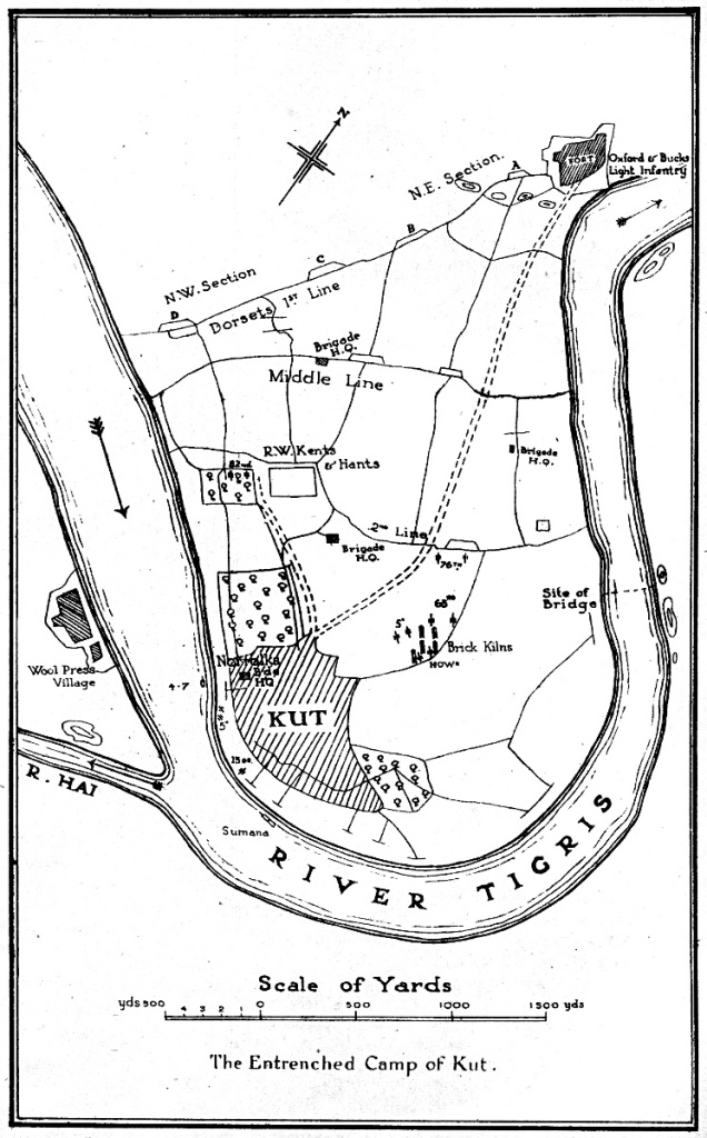 Plan of the Entrenched Camp of Kut (from C.V.F Townshend, My Campaign in Mesopotamia, 1920)