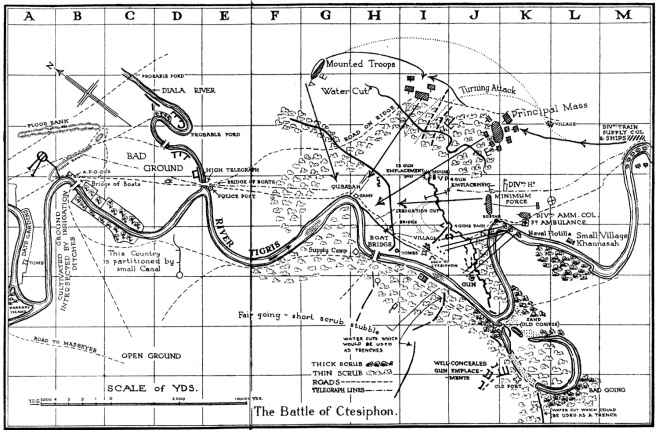 Reference Map for the Battle of Ctesiphon (C.V.F. Townshend, My Campaign in Mesopotamia, 1920)