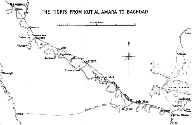 The Tigris from Kut al Amara to Baghdad showing the British retreat from Ctesiphon (from F.J. Moberly, The Campaign In Mesopotamia, 1914-1918, 1927)
