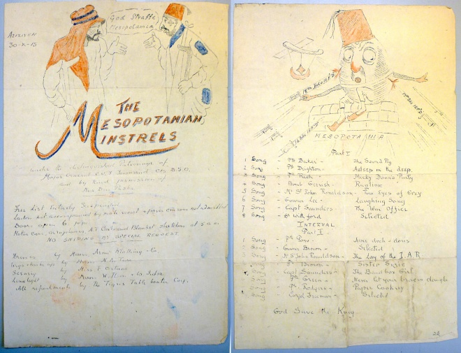 The Mesopotamian Minstrels' Concert Programme, Azizie, 30th October, 1915 (Royal Norfolk Regimental Museum)