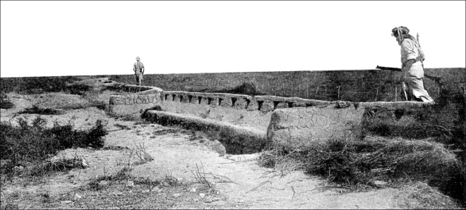 Rear View of well made Turkish trenches, also showing the flatness of the terrain with an absence of natural cover over which the British and Indian troops had to advance. The Sphere, April 15, 1916