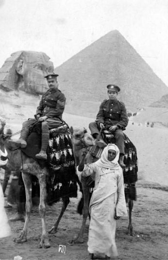 Norfolk soldiers on camels in front of the pyramids. Almost certainly 1/5th men in 1916