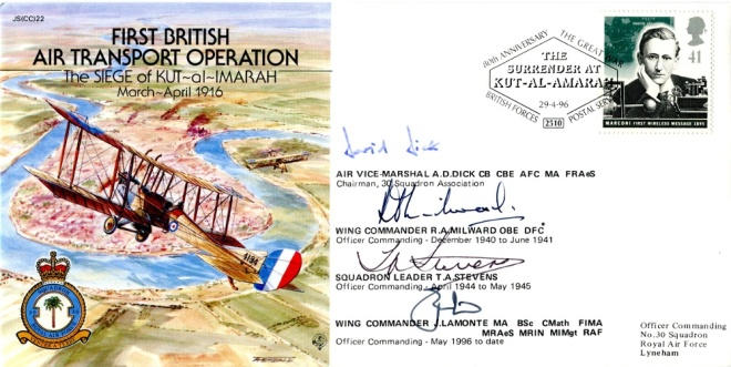 Postal Cover (1996) commemorating the 80th Anniversary of the Air Transport Operation during the Siege of Kut al Amara
