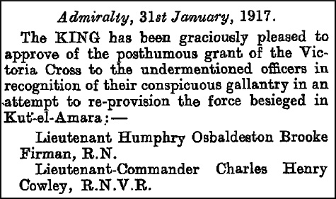 Entry in The London Gazette, 2 February 1917