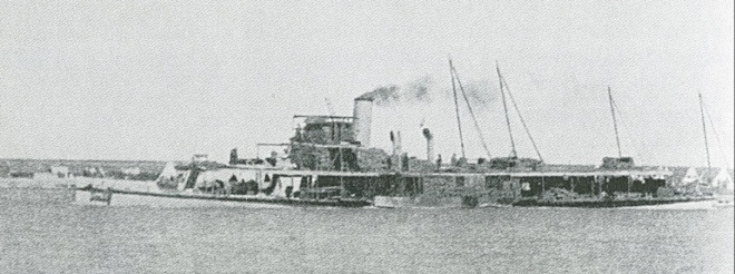 The 'Julnar', laden with supplies, setting out to run the gauntlet to Kut