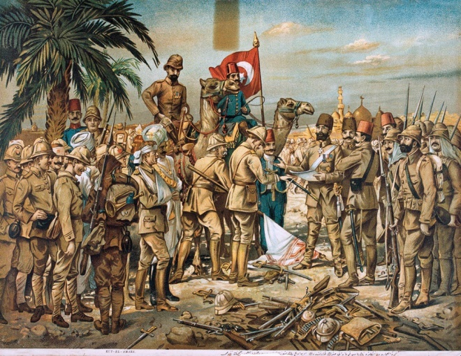 British Capitulation at Kut-El-Amara, April 29th, 1916. Chromolithograph, anonymous Turkish artist, c1918 © National Army Museum : NAM 1960-09-35-2