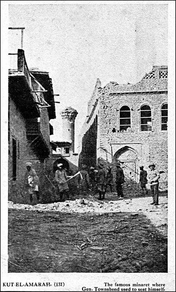 The Minaret of a Kut Mosque Damaged by Shellfire Photographed after the British recapture of Kut in 1917